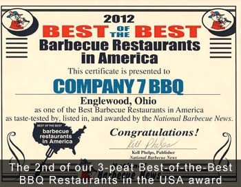 Company 7 BBQ is Awarded Best of the Best BBQ Restaurent in America
