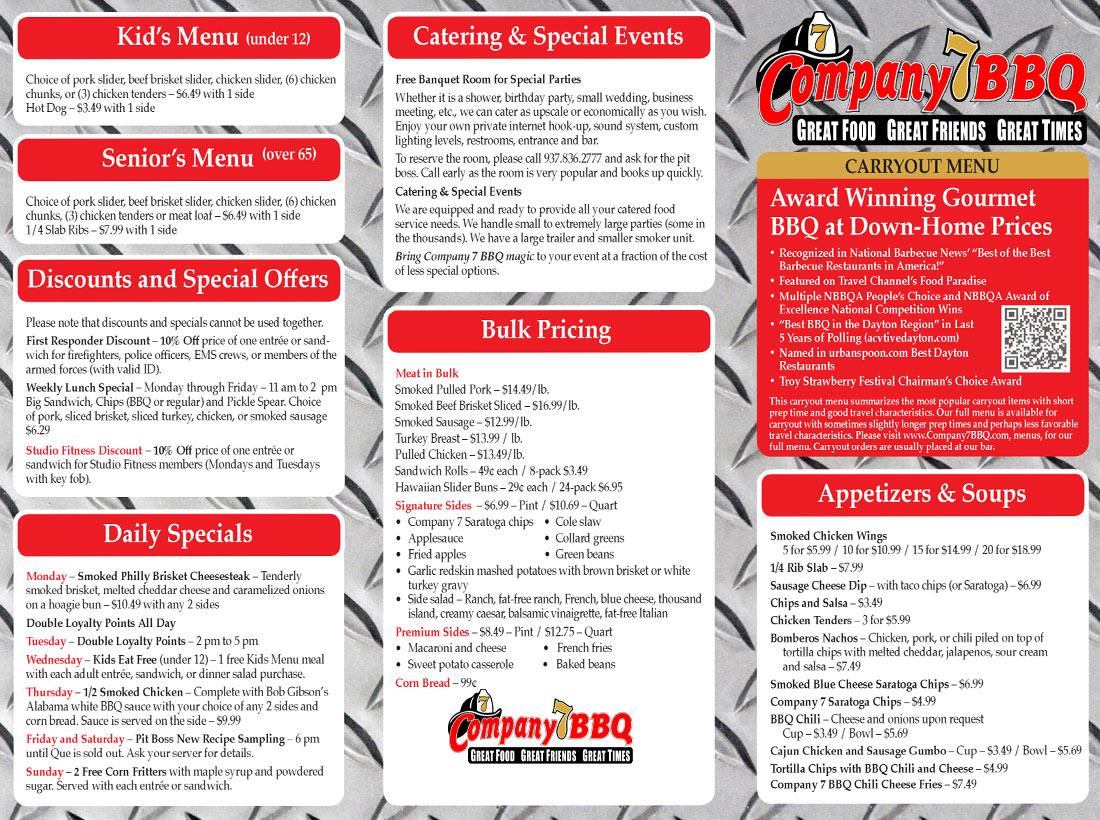 Company 7 BBQ 2016 Carryout Menu Pg. 1